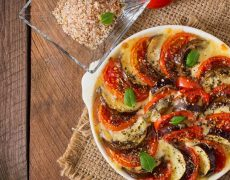 Gratin aubergines, tomates et fromage